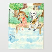 animal crossing Canvas Prints featuring Animal Crossing tribute by Luchie