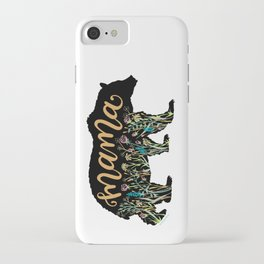 Mama Bear with Pretty Wildflowers Hand Lettering Illustration iPhone Case