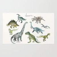 dinosaurs Area & Throw Rugs featuring Dinosaurs by Amy Hamilton