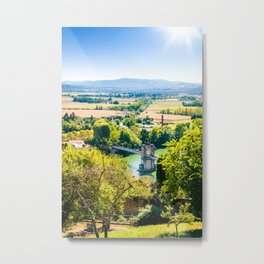 Landscape of Trevoux town scenic in France along Saone river Metal Print
