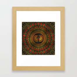 Egyptian Scarab Beetle - Gold and red  metallic Framed Art Print