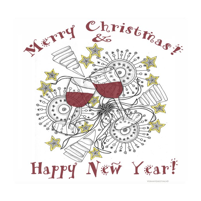 Merry Christmas & Happy New Year - Zentangle Illustration Comforters