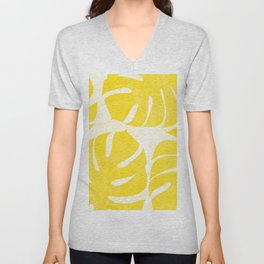 Mellow Yellow Monstera Leaves White Background #decor #society6 #buyart Unisex V-Neck
