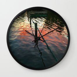 Red reflection at night, sailors delight Wall Clock