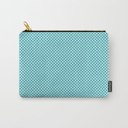 Houndstooth White & Teal small Carry-All Pouch