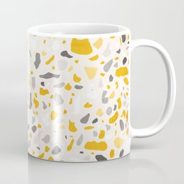 Terrazzo memphis vintage mustard yellow white grey black Coffee Mug