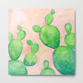Watercolor Prickly Pear Cactus Metal Print