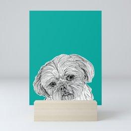 Shih Tzu Dog Portrait ( teal background ) Mini Art Print
