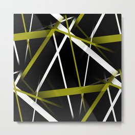 Seamless Olive Green and White Stripes on A Black Background Metal Print