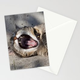 CAT - YAWNING - PHOTOGRAPHY - ANIMALS - CATS Stationery Cards
