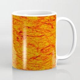 Horizontal metal texture of Iridescent highlights on orange waves. Coffee Mug