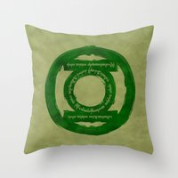 lord of the ring Throw Pillows featuring One Green Ring by Oddesign