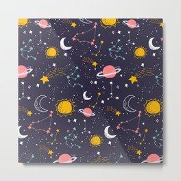 Galaxy Star Moon Zodiac Design Metal Print