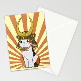 Japanese Bobtail Cat Wears Samurai Hat Stationery Cards