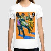 jjba T-shirts featuring JJBA: Kujo Jotaro VS Dio Brando by DzoHo