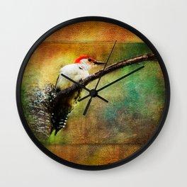 Woodpecker on Cherry Tree ~View 2  Wall Clock
