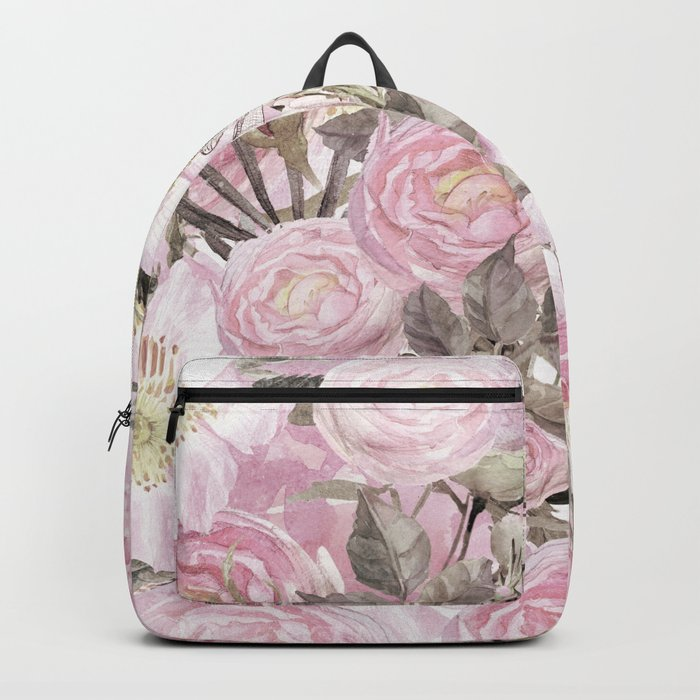 Floral Vintage painterly background in pink with Roses Flowers and insect Backpack