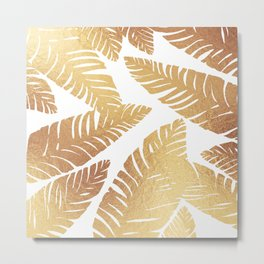 Glam Leaves Metal Print
