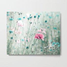 Pink Mint Aqua Teal Turquoise Floral Photography, Girls Room Nursery Feminine, Spring Nature Photo Metal Print