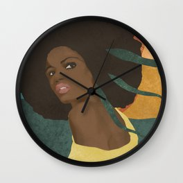 Afro lady #art print#society6 Wall Clock