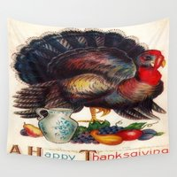 thanksgiving Wall Tapestries featuring A Happy Thanksgiving by Lokisbooksnmore