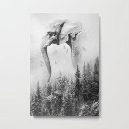 Elephant | Animal Photography | B&W | Nature | Fog | Wildlife | Abstract | Landscape Metal Print