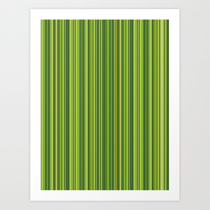 Many multicolored strips in the green sample Art Print