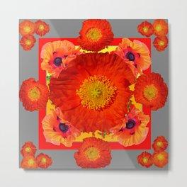 GREY ART YELLOW-RED POPPIES GARDEN ART Metal Print
