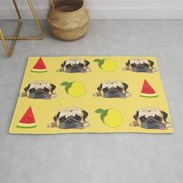 Pug dog. When life gives you lemons, eat more watermelon!   Rug