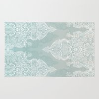 moroccan Area & Throw Rugs featuring Lace & Shadows - soft sage grey & white Moroccan doodle by micklyn
