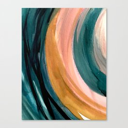 Breathe: a vibrant bold abstract piece in greens, ochre, and pink Canvas Print