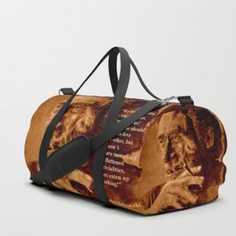 Charles Bukowski - quote - sepia Duffle Bag