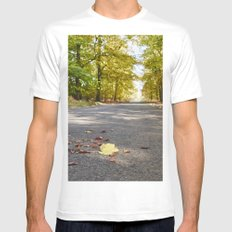 Remote country road through Autumnal woodland. Norfolk, UK. White Mens Fitted Tee MEDIUM