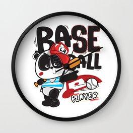 Panda Baseball - Cute Happy Sports Panda Bear KIDS Wall Clock