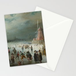 Skating on the Frozen Amstel River by Adam van Breen, 1611 Stationery Cards