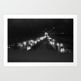 A snowy highway, the 401 at night Art Print