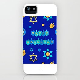 Happy Hanukkah Banner with Star of David Pattern iPhone Case