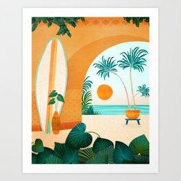 Seaside Surf Retreat / Tropical Landscape Art Print