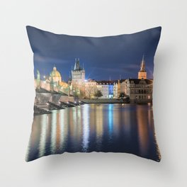 Charle's Bridge at Night Throw Pillow