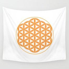 Orange Flower of life Wall Tapestry