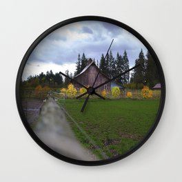 Fall Barn Wall Clock