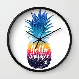 pineapple hello summer Wall Clock