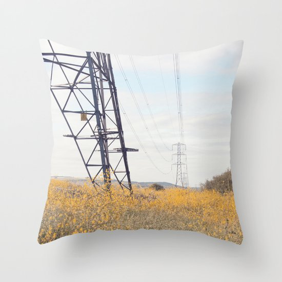 yellow lines... Throw Pillow