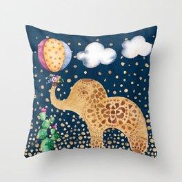 Elephant Play Throw Pillow