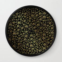 golden notes music symbol in black Wall Clock