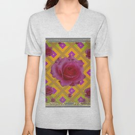 GRUNGY ANTIQUE PINK ROSE PATTERN Unisex V-Neck