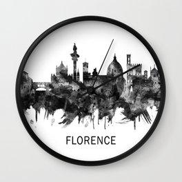 Florence Italy Skyline BW Wall Clock