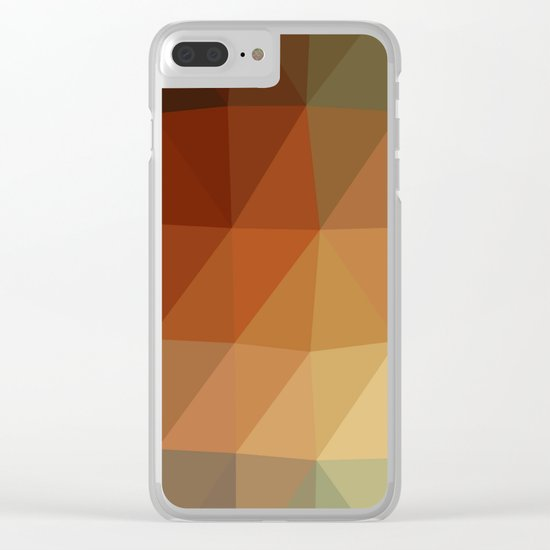 Shades Of Green And Brown Triangle Abstract Clear iPhone Case
