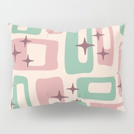 Retro Mid Century Modern Abstract Pattern 222 Dusty Rose and Pastel Green Pillow Sham
