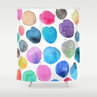 craftberrybush Shower Curtains featuring watercolor blobs by craftberrybush